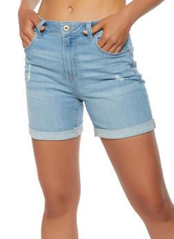 WAX Distressed Cuffed Denim Shorts - 1070071615410