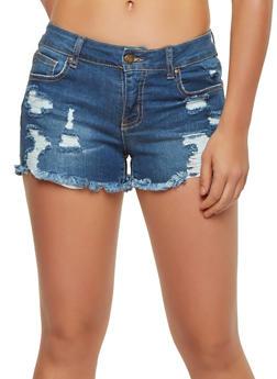 WAX Destroyed Denim Shorts - 1070071619011