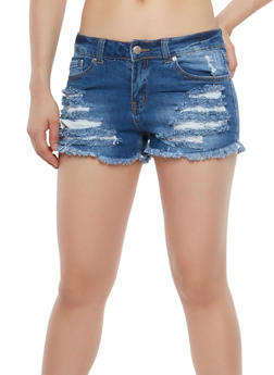 WAX Destroyed Denim Shorts - 1070071619013