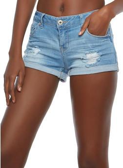 WAX Distressed Denim Shorts - 1070071619022