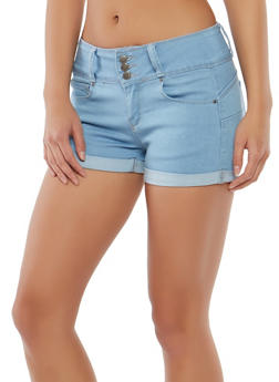 WAX 3 Button Push Up Denim Shorts - 1070071619099