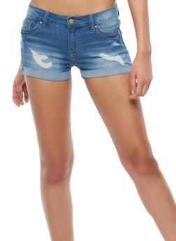 WAX Distressed Push Up Denim Shorts - 1070071619159