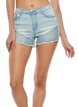 Moto Detail Denim Shorts - 1070072290002