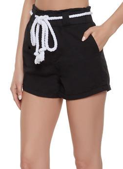 Rope Belt High Waisted Shorts - 1070072290016