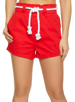 Rope Belt High Waisted Shorts - 1070072290016