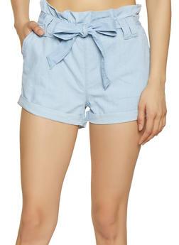 Paper Bag Waist Chambray Shorts - 1070072290018