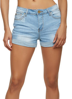 Roll Cuff Denim Shorts - 1070072290113