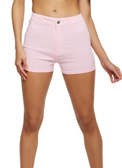 High Waisted Solid Stretch Shorts - 1070072290411