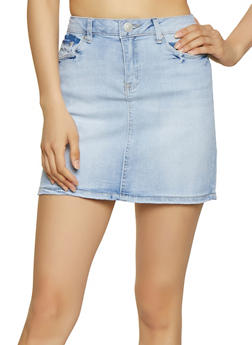 Almost Famous Denim Mini Skirt - LIGHT WASH - 1071015990017