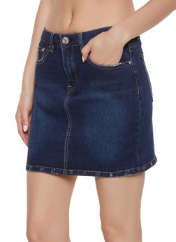 Almost Famous Denim Mini Skirt - DARK WASH - 1071015990017