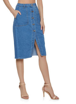 Almost Famous Button Front Denim Skirt - 1071015990066