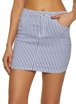 Almost Famous Striped Denim Skirt - 1071015990175
