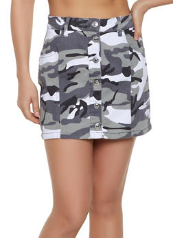 Almost Famous Camo Denim Mini Skirt - 1071015993786