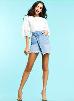Button Wrap Denim Mini Skirt - 1071063155911
