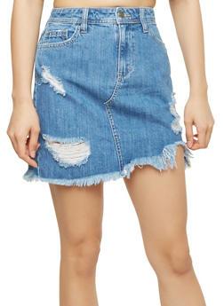 Cello Frayed Denim Mini Skirt - 1071063155946