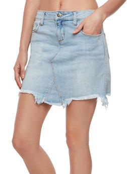 Cello Frayed Denim Mini Skirt - 1071063156090