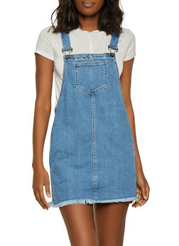 Cello Frayed Denim Overall Dress - 1071063156374