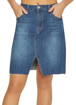 Highway Denim Pencil Skirt - DARK WASH - 1071071313575