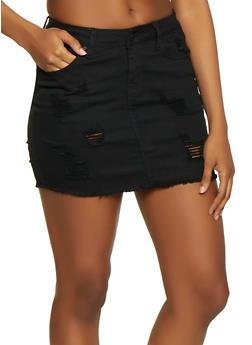 WAX Frayed Denim Mini Skirt - 1071071610114