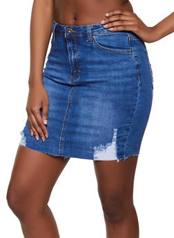 WAX Raw Hem Denim Pencil Skirt - 1071071610131