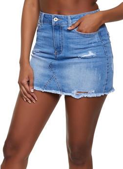 WAX Frayed Mini Denim Skirt - 1071071610132