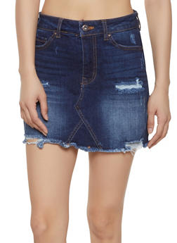 WAX Frayed Mini Denim Skirt - 1071071610132