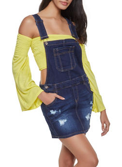 WAX Distressed Overall Dress - 1071071610136