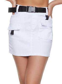 Buckle Belt Cargo Skirt - White - Size M - 1071072290002