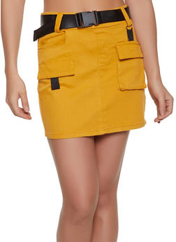 Buckle Belt Cargo Skirt - 1071072290002