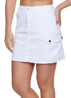 Frayed Cargo Skirt - White - Size M - 1071072290011