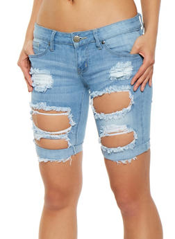 VIP Destroyed Denim Shorts - 1072065300585