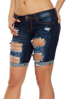 VIP Destroyed Denim Shorts - 1072065300585