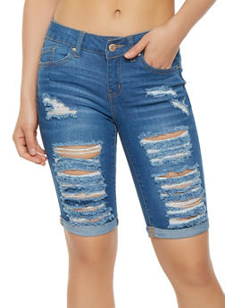 WAX Destroyed Denim Bermuda Shorts - 1072071610112