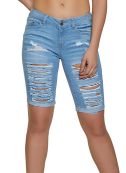 WAX Fixed Cuff Denim Bermuda Shorts - 1072071610113