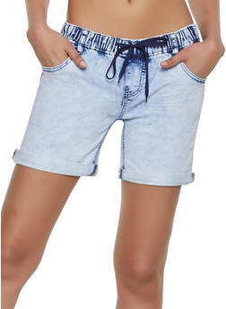 Elastic Waist Denim Shorts - 1072072290008