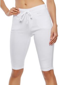 Elastic Waist Stretch Bermuda Shorts - 1072072290190