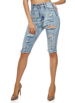 High Waisted Denim Bermuda Shorts - 1072072290279