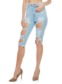 Destroyed Denim Capri Pants - 1072072290280
