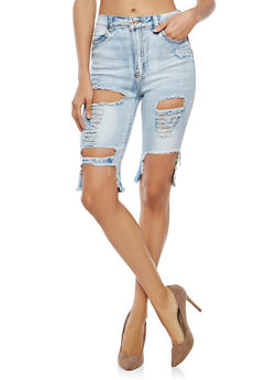 Destroyed Denim Bermuda Shorts - 1072072290281