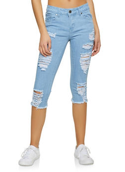 VIP Destroyed Capri Jeans - 1073065308097
