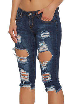 VIP Destroyed Capri Jeans - 1073065308898