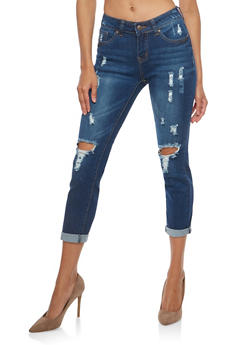 WAX Distressed Cropped Skinny Jeans - 1073071619015