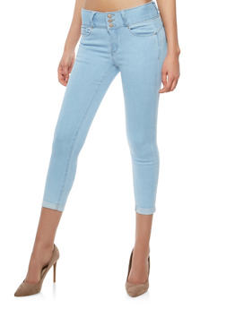 WAX 3 Button Cuffed Capri Push Up Jeans - 1073071619069