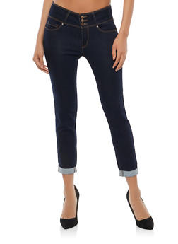 WAX 3 Button Cuffed Capri Push Up Jeans - 1073071619069