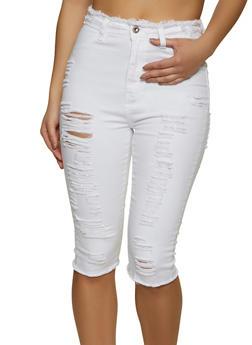 Frayed Denim Capri Pants - 1073072292951