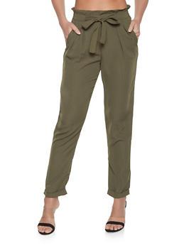 Paper Bag Waist Tie Front Pants - 1074015990059