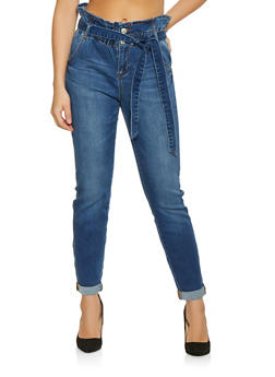 Almost Famous Paper Bag Waist Jeans - 1074015990241