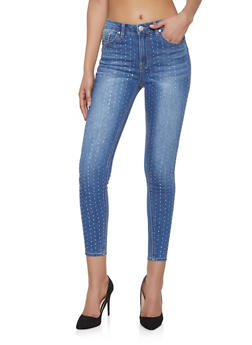 Almost Famous Rhinestone Studded Jeans - 1074015990249
