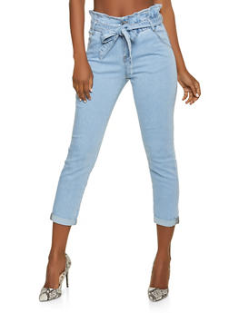 Almost Famous Paper Bag Waist Jeans - 1074015992411