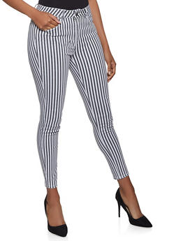 Almost Famous Striped Skinny Jeans - 1074015993075
